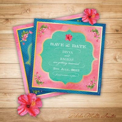 Photo of Pink and Blue Lotus Themed Wedding Invitation Cards