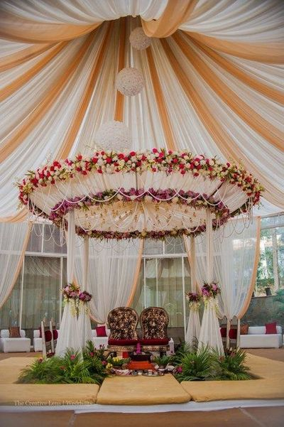 Photo of Canopy Drapes and Floral Wedding Decor