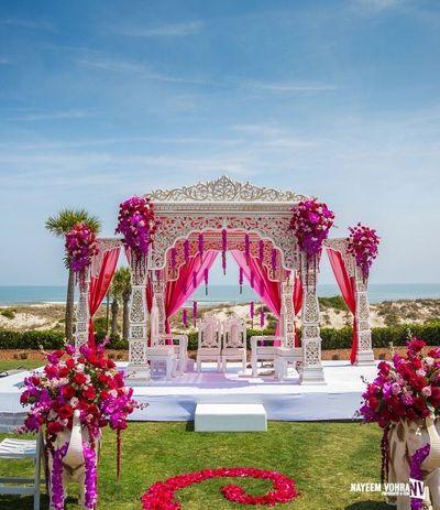 Photo of Minimal mandap decor for a day wedding