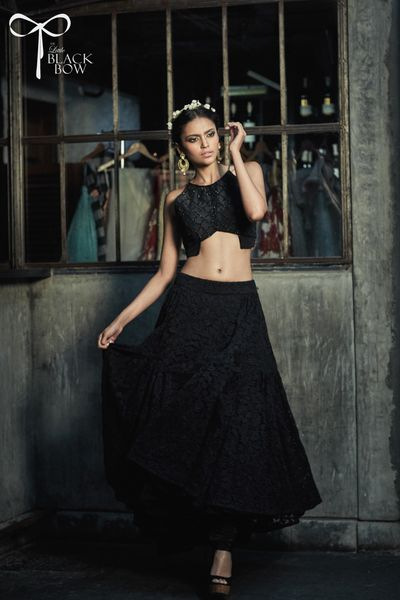 Photo of black crop top and skirt