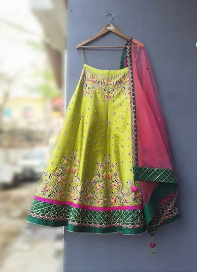 Photo of Light green and onion pink lehenga for mehendi