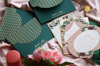 Photo of dark green modern wedding invitations