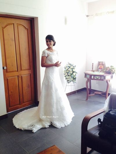 Photo of white color christian gown