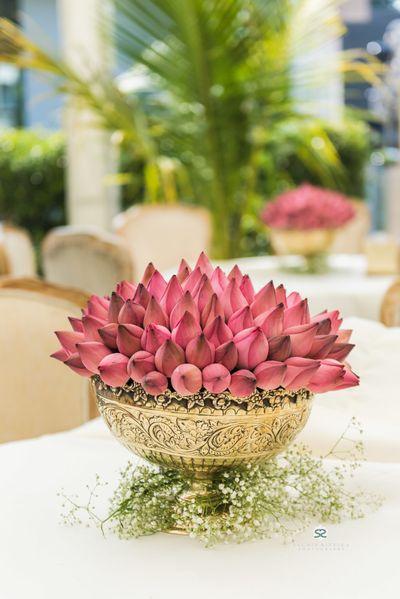 Photo of Lotus floral arrangement centrepiece