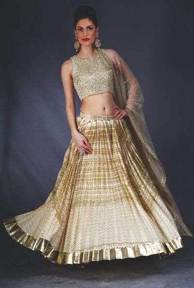 Photo of engagement printed lehenga