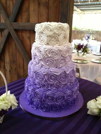 Photo of 4 tier lavender and white ombre wedding cake