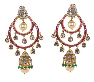 Photo of chaand baali styke earrings in ruby and gold and pearls