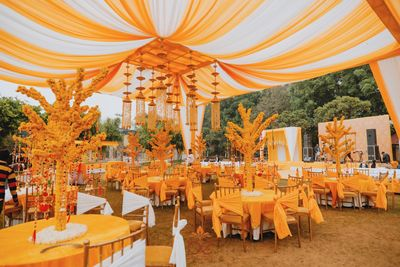 Photo of Yellow and white decor at a wedding function
