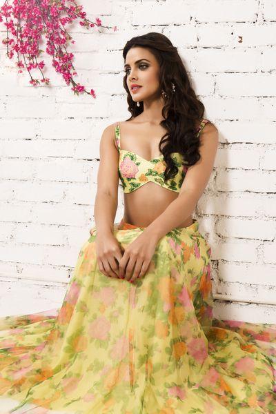 Photo of floral print lehengas bustier lehenga