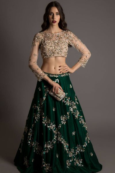 Photo of cream and green lehenga