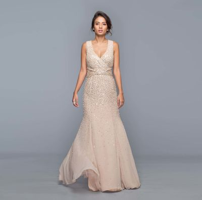 Photo of Shimmery evening beige cocktail gown