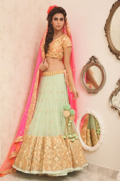 Photo of mint and mint lehenga