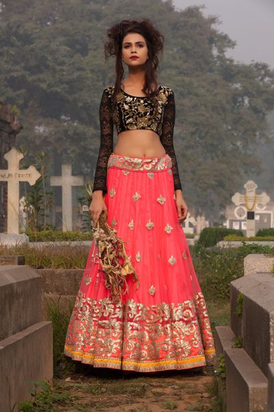 Photo of bright pink gota work lehenga