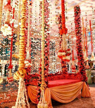 Photo of Floral jhoola decor for mehendi