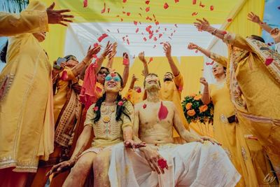 Photo of A fun haldi photograph.