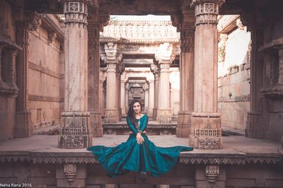 Photo of Teal full sleeved crop top and lehenga
