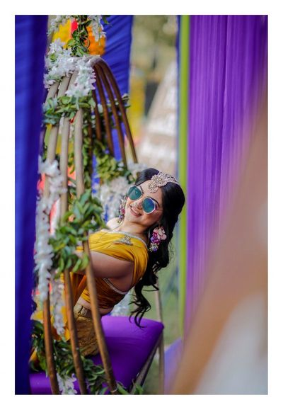 Photo of A bride in unique pearl magtikka
