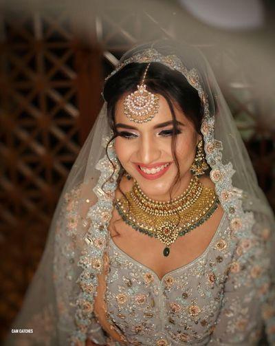 Photo of Offbeat bride in grey lehenga