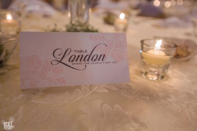 Photo of table centerpieces as names of cities that the couple has visited together or wants to visit together