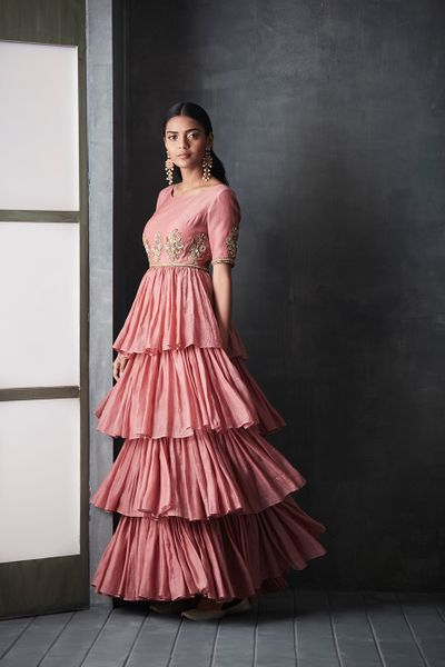 Photo of Coral floor length layered anarkali
