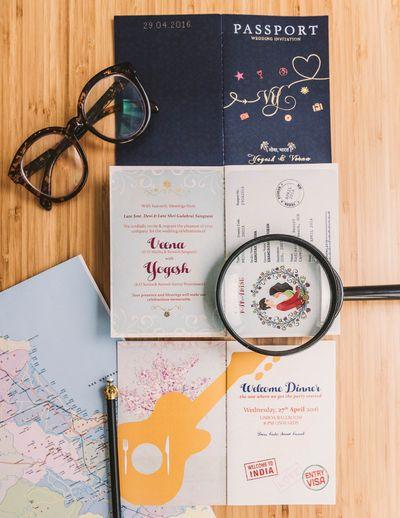 Photo of Passport wedding invite for destination wedding