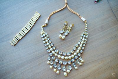 Photo of 3 Layered Polki Necklace and Diamond Bracelets