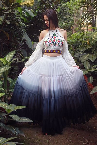 Photo of Dip dye skirt with cold shoulder floral top for boho bride