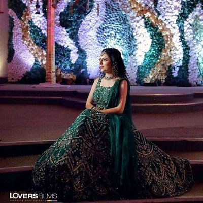 Photo of Sangeet outfit in dark colors