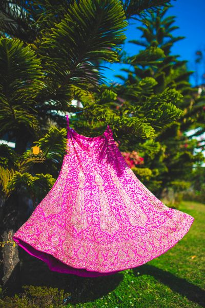 Photo of Beautiful pink and gold lehenga hanging on a tree