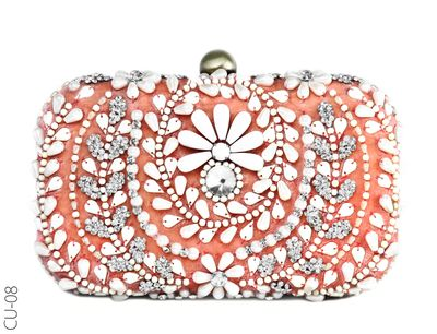 Photo of orange and coral  bridal box clutch with crystals and beads