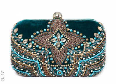 Photo of teal beaded clutch with velvet