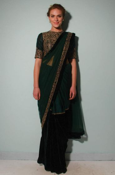 Photo of saree with encrusted blouse