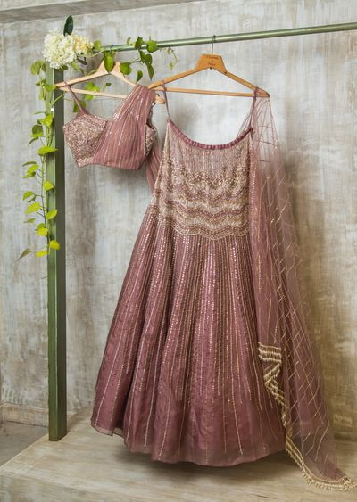 Photo of onion pink shimmery pink lehenga for sangeet