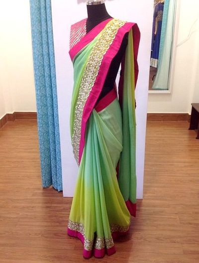 Photo of Green and Yellow Shaded Saree with Pink Border