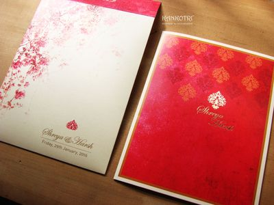 Photo of bright pink wedding cards
