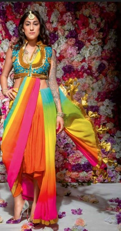Photo of indo western striped sari with jacket