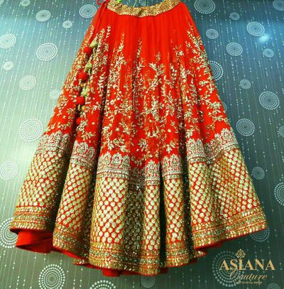 Photo of red bridal lehenga in net