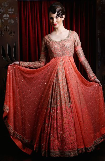 Photo of coral vermilion floor length