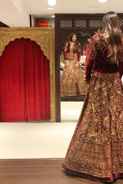 Photo of maroon lehenga