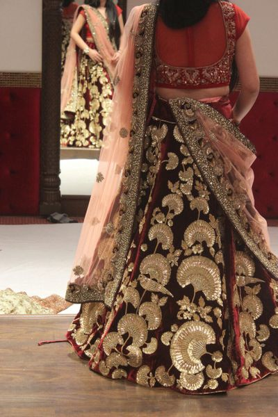 Photo of velvet lehenga