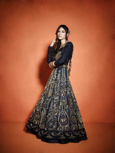 Photo of heavy ornate anarkali in navy blue georgette
