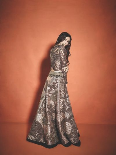 Photo of heavy metallic lehenga
