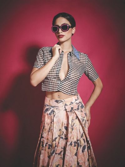 Photo of floral print lehenga skirt with v neck three quarter sleeve blouse