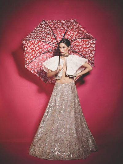 Photo of silver and grey lehenga