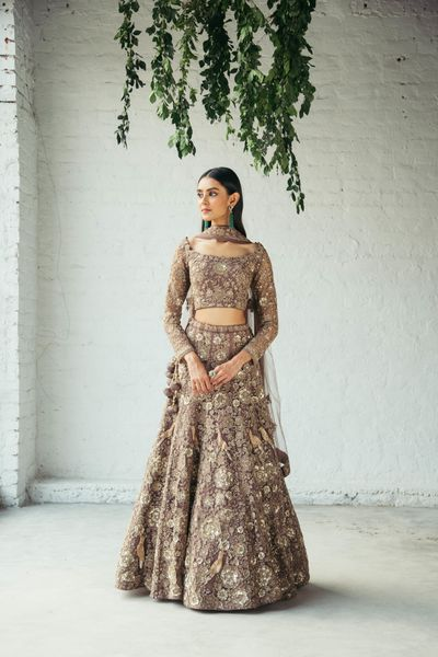 Photo of Beautifully offbeat hazel lehenga for modern brides