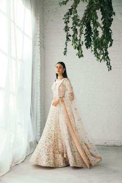 Photo of Gorgeous floral lehenga in pastel hues