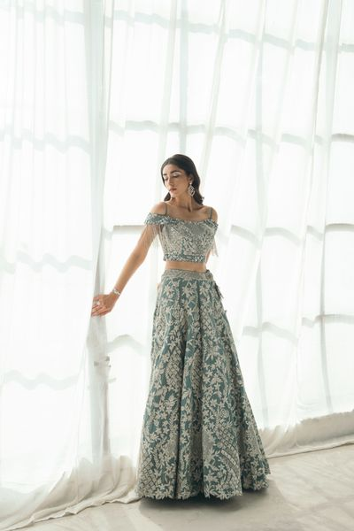 Photo of Gorgeous blue & silver lehenga