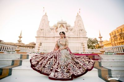 Photo of maroon and green foil work bridal lehenga
