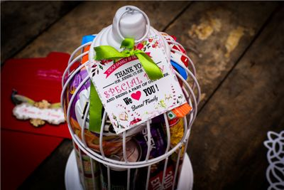Photo of wedding favors in birdcage with a message card