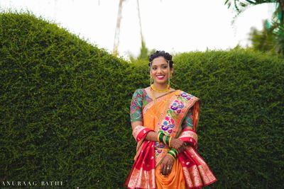 Photo of Bright and happy marathi bride on wedding day